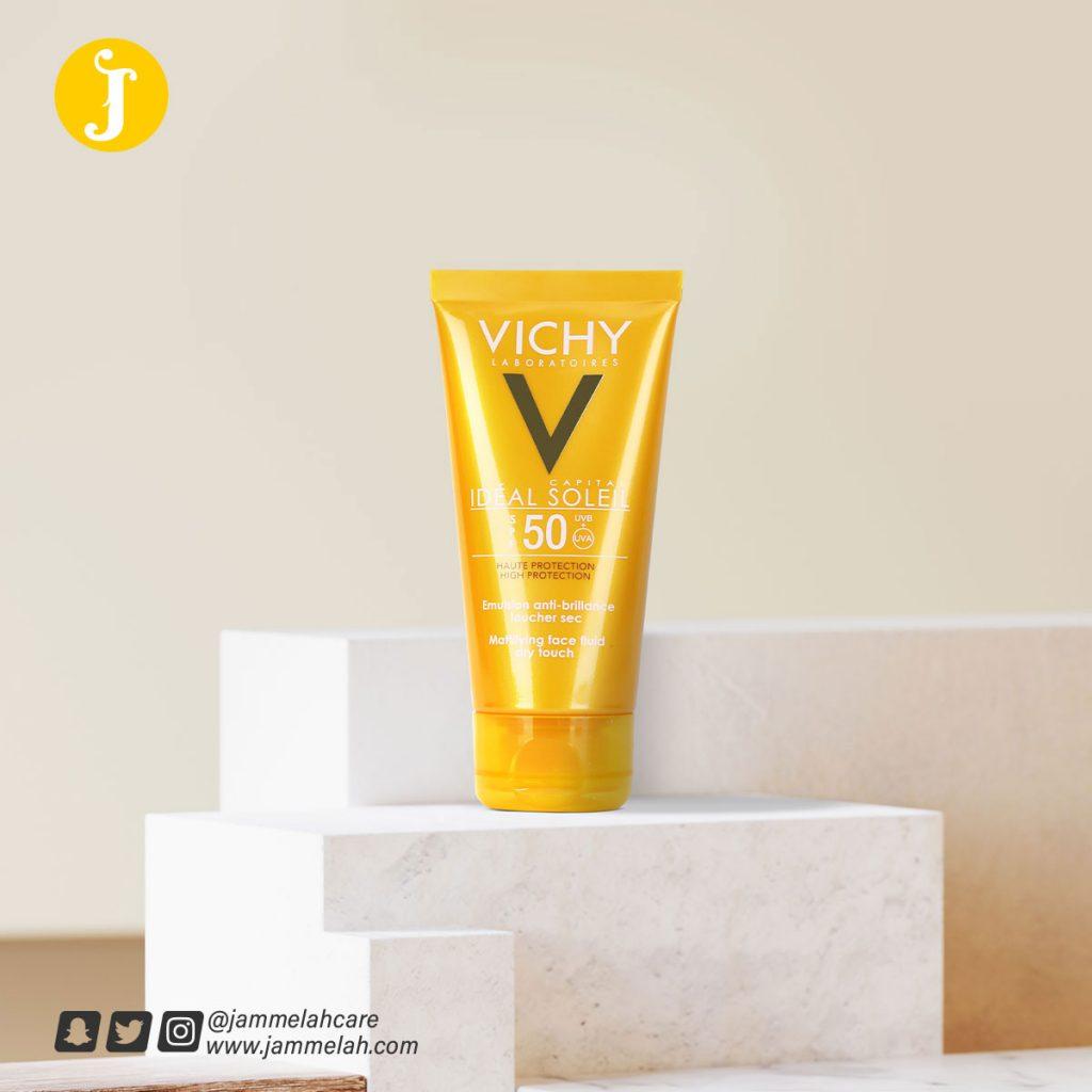 صن بلوك فيشي للبشرة الدهنية ريفيو كامل +Vichy Mattifying Dry Touch Face Fluid SPF 50