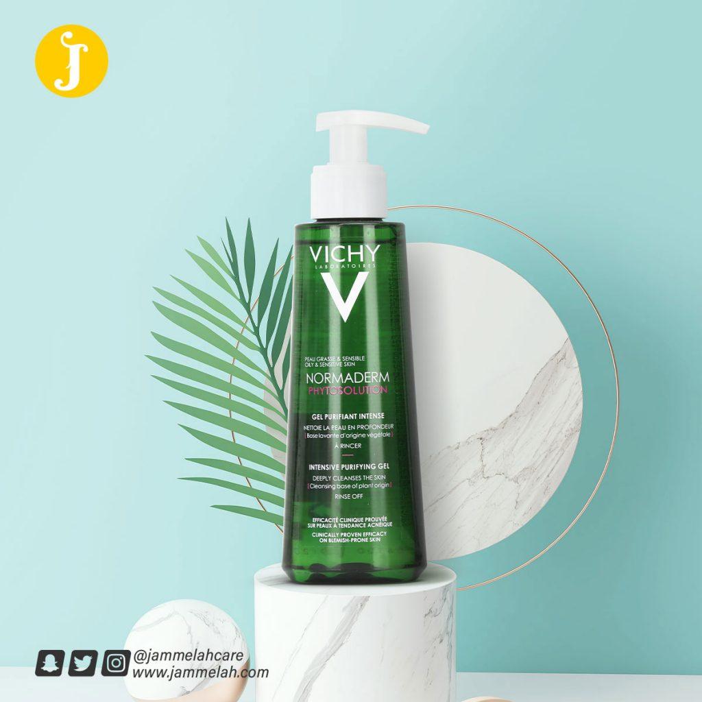 غسول فيشي نورماديرم للبشرة الدهنية ريفيو كامل Vichy Normaderm Cleanser Gel